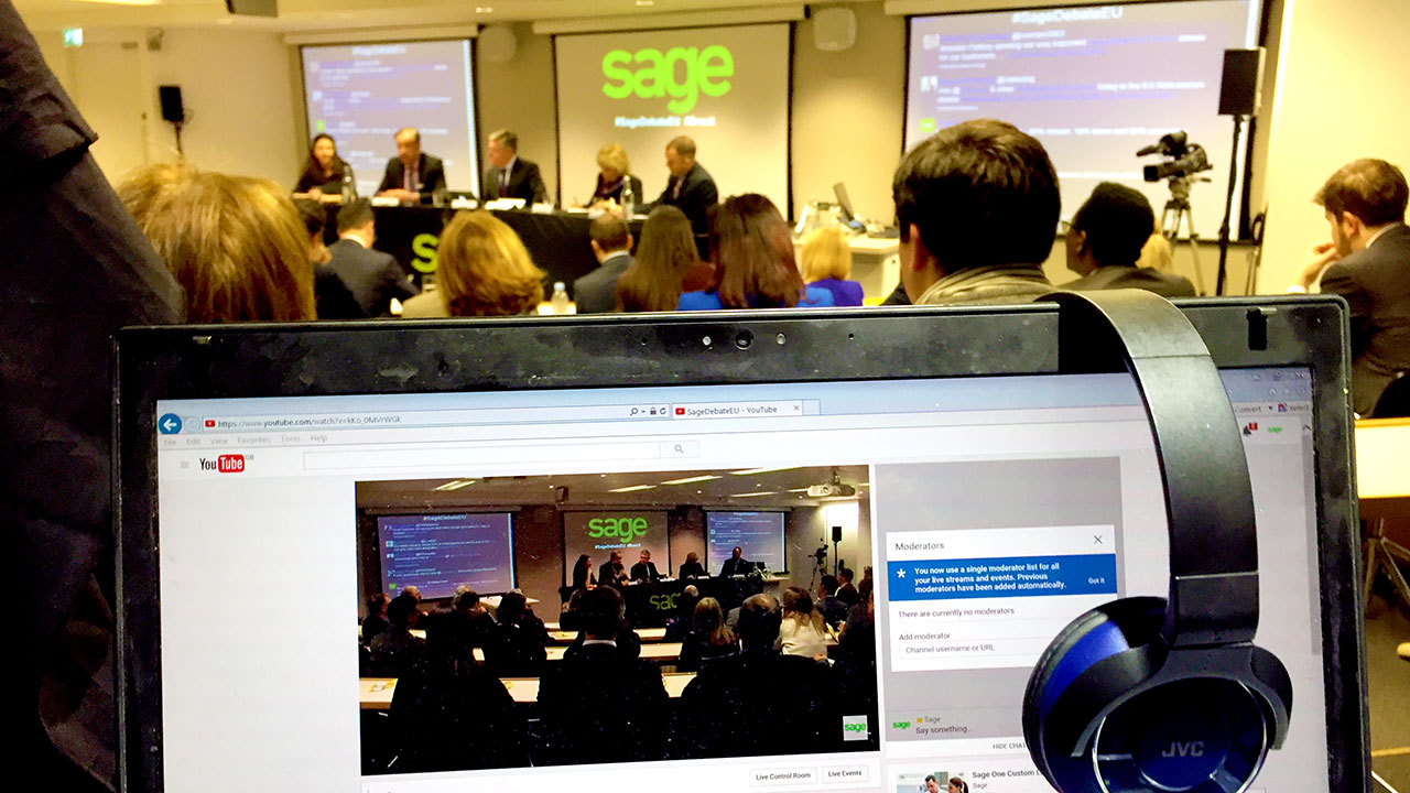 debate sage webcast from london webcasting company uk stream 360 degree video production cambridge
